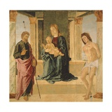 Virgin and Child Enthroned, with St James and St Sebastian Giclee Print by Lorenzo Costa