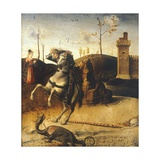 St George Killing the Dragon, Detail from the Predella of the Pesaro Altarpiece, Ca 1475 Giclee Print by Giovanni Bellini