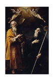 Saints Andrew and Benedict with Holy Spirit Above Them and Two Adoring Putti Giclee Print by Giuseppe Cesari