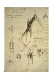 Architectural Details and Section of Cupola of the Duomo in Milan Giclee Print by  Leonardo da Vinci