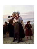 Mothers and Children, Detail from Summer on a Breton Beach Giclee Print by Henri-Jacques Bource