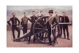 Sergeants of the Royal Horse Artillery with a 12 Pounder Gun Giclee Print by Louis Creswicke