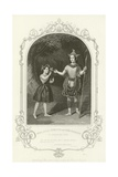 Miss Julia Harland and Miss Conquest as Oberon and Puck, a Midsummer Night's Dream Giclee Print by Joseph Kenny Meadows