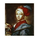 Portrait of a Young Man as a Painter Giclee Print by Giuseppe Ghislandi