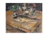 Still Life with Fish, Flowers and Apples; Nature Morte Aux Poisson, Fleurs Et Pommes Giclee Print by Gustave Loiseau