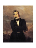 Portrait of Alessandro Manzoni with Views of Lecco Giclee Print by Giuseppe Molteni