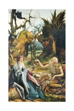 Conversation Between Saint Anthony and Saint Paul Hermit Giclee Print by Mathias Grunewald