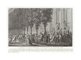 Camille Desmoulins Issues His Call to Arms Outside the Palais Royal Giclee Print by Jean Duplessis-bertaux