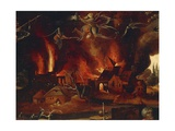The Temptation of St. Anthony, Detail Showing the City in Flames and Demons Giclee Print by Jan Mandyn