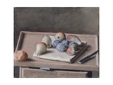 Still Life with Pears, Figs, Prunes, Bread Roll and Knife on Table, 1782 Giclee Print by Jean-Etienne Liotard
