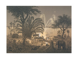Fireworks on the River at Celebrations in Bassac Giclee Print by Louis Delaporte