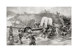 "Taking a 4.7"" Naval Gun across the Tugela River During the Battle of Colenso Giclee Print by Louis Creswicke"