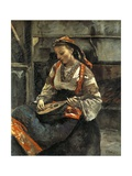 Young Italian Woman Seated and Playing the Mandolin Giclee Print by Jean-Baptiste-Camille Corot