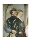 Pair of Young People, Detail from Game of Cards Giclee Print by Giovanni Antonio Fasolo