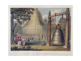 Scene Upon the Terrace of the Great Dagon Pagoda at Rangoon Giclee Print by Joseph Moore