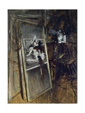 Inside Painter's Studio with Painting Young Girl, Errazuriz Giclee Print by Giovanni Boldini