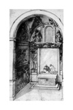 A Design for a Chapel Decorated with Frescoes and an Altar with a Lamentation Giclee Print by Jacopo Zucchi