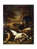 The Spoils of a Hunt with a Hunt Servant and a Black Page Holding a Bay, 1700 Giclee Print by Jan Weenix