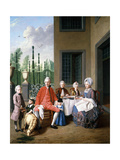 Group Portrait of the Van Den Bosch Family, Dining by a House, a Topiary Garden Beyond, 1777 Giclee Print by Jan Josef the Younger Horemans