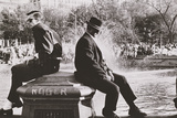 Two Men Sitting Back to Back Near Washington Square Park Fountain, Untitled 9, C.1953-64 Photographic Print by Nat Herz