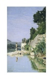 Fisherman at River or Fisherman on Arno River at Casaccia, 1871 Giclee Print by Odoardo Borrani