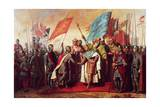 Meeting Between Philip II King of France and Henry II King of England, at Gisors, 21 January 1188 Giclee Print by Gillot Saint-Evre