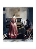 Woman Playing Spinet, Woman Singing and Man Playing Violin Giclee Print by Jacob Ochtervelt