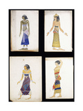 Egyptian Costume Designs for a Dancer, a Musician, Ta-Or, and Cleopatra's Sister Giclee Print by Leon Bakst