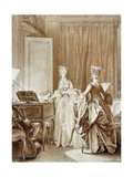 The Harpsichord, Illustration from 'La Nouvelle-Heloise' Giclee Print by Jean Michel the Younger Moreau