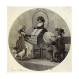 Morning Employments, Three Young Girls with Spinet and Embroidering Giclee Print by Henry William Bunbury