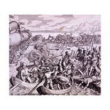 How the Spanish Landed in the Island of Haiti Giclee Print by Theodor de Bry
