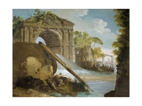 Imaginary View: River with Fishermen and Ruins Giclee Print by Giuseppe Bernardino Bison