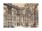 The Portico of an Italian Palace with a Fountain Decorated with a Statue of Fortune Giclee Print by Giuseppe Bibiena