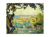 Two Children in a Coastal Landscape; Deux Enfants Dans Un Paysage Maritime Giclee Print by Henri Lebasque
