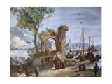 Imaginary View: Port with Ruins and Waterfall Giclee Print by Giuseppe Bernardino Bison