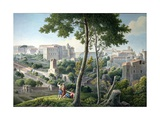 View of the Quirinal Hill in Rome, with the Villa Colonna in the Background, C.1800 Giclee Print by Louis-Francois Cassas