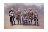 Private, Drummers, Piper and Bugler of the Black Watch During the Second Boer War Giclee Print by Louis Creswicke