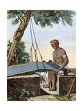Weaver at Loom, Engraving from Voyage to East Indies and China Between 1774 and 1781 Giclee Print by Pierre Sonnerat