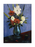 Vase of Flowers with Gladiola and Dahlias; Blumenvase Mit Gladiolen Und Dahlien Giclee Print by Oskar Schlemmer