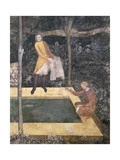 Four People around Pond Catching Fish, Detail from Fresco Giclee Print by Matteo Di Giovanetto