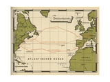 Map Showing the Transatlantic Routes Taken by LZ 126 in October Giclee Print