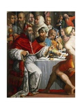 Pope Clement VII in Guise of San Gregorio, Detail from Dinner of St Gregory Great, 1540 Giclée-Druck von Giorgio Vasari