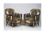 Pair of Art Deco Style Armchairs, Ducharne Model, 1926 Gicleetryck av Jacques-emile Ruhlmann