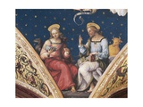 St Luke and St John, Detail from the Eternal Father, with Saints and Evangelists, 1496-1500 Giclee Print by  Perugino