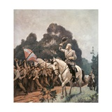 General Robert Lee Saluting Troops Heading to Front Giclée-tryk af Newell Convers Wyeth
