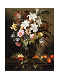 A Bouquet of Flowers with Fruit and Two Sand Lizards on a Stone Ledge, 1647 Giclee Print by Jacob Marrel