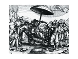 Portuguese in India, Being Transported on Litter, Engraving from Peregrinationes Giclee Print by Theodor de Bry