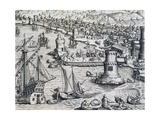 Arrival of Girolamo Benzoni in Port of La Palma, Engraving from Historia Americae Giclee Print by Theodor de Bry
