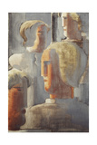 Group of Four Heads Gray Blue Giclee Print by Oskar Schlemmer