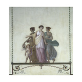 Allegory of Comedy, Justice and Truth, Pompeian-Style Fresco Giclee Print by Giuseppe Borsato